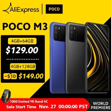 """купить новый POCO M3 Смартфон Snapdragon 662 4GB 64GB 6,53 """"Дисплей 6000 мАч батарея 48MP Cam"""