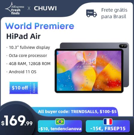 Планшет CHUWI HiPad Air на Android 11, восемь ядер, экран 10,3 дюйма, 4 Гб + 128 ГБ